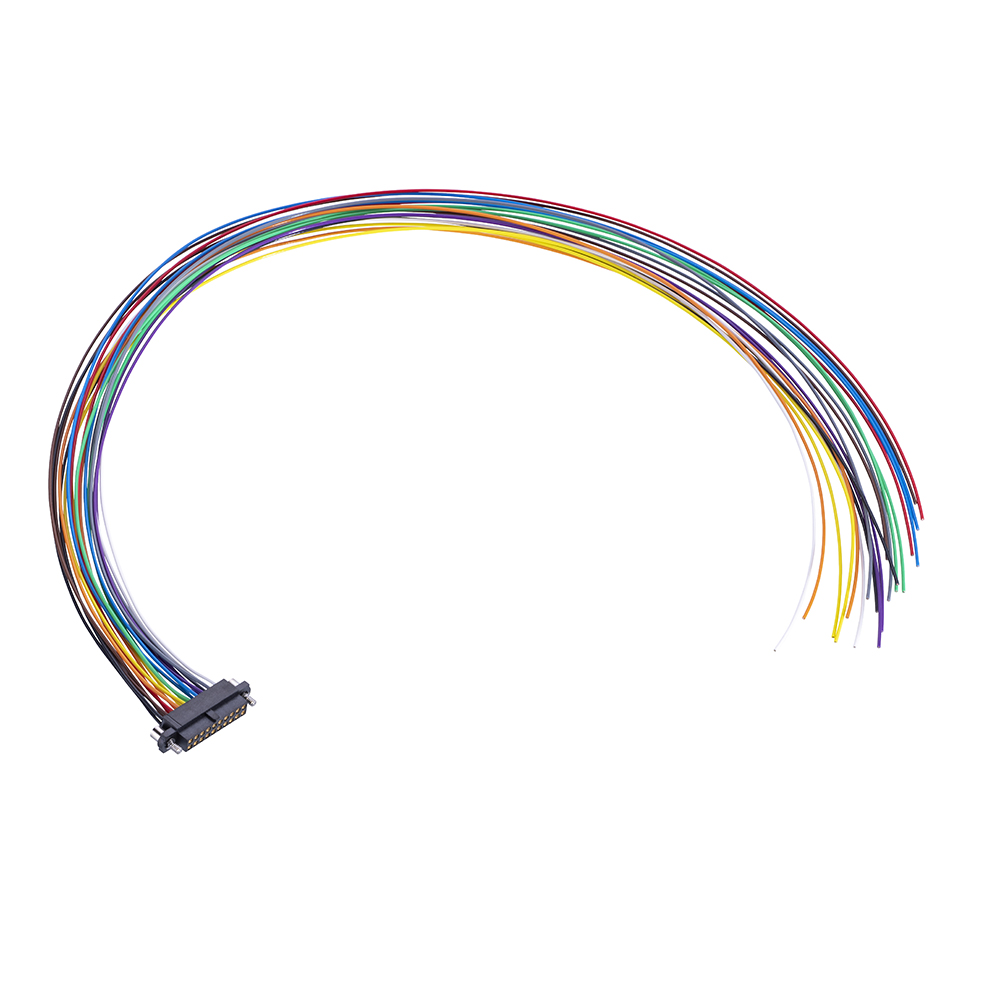 M80-FF23468F2-XXXXL - 17+17 Pos. Female DIL 24AWG Cable Assembly, single-end, Extended Wall, Jackscrews