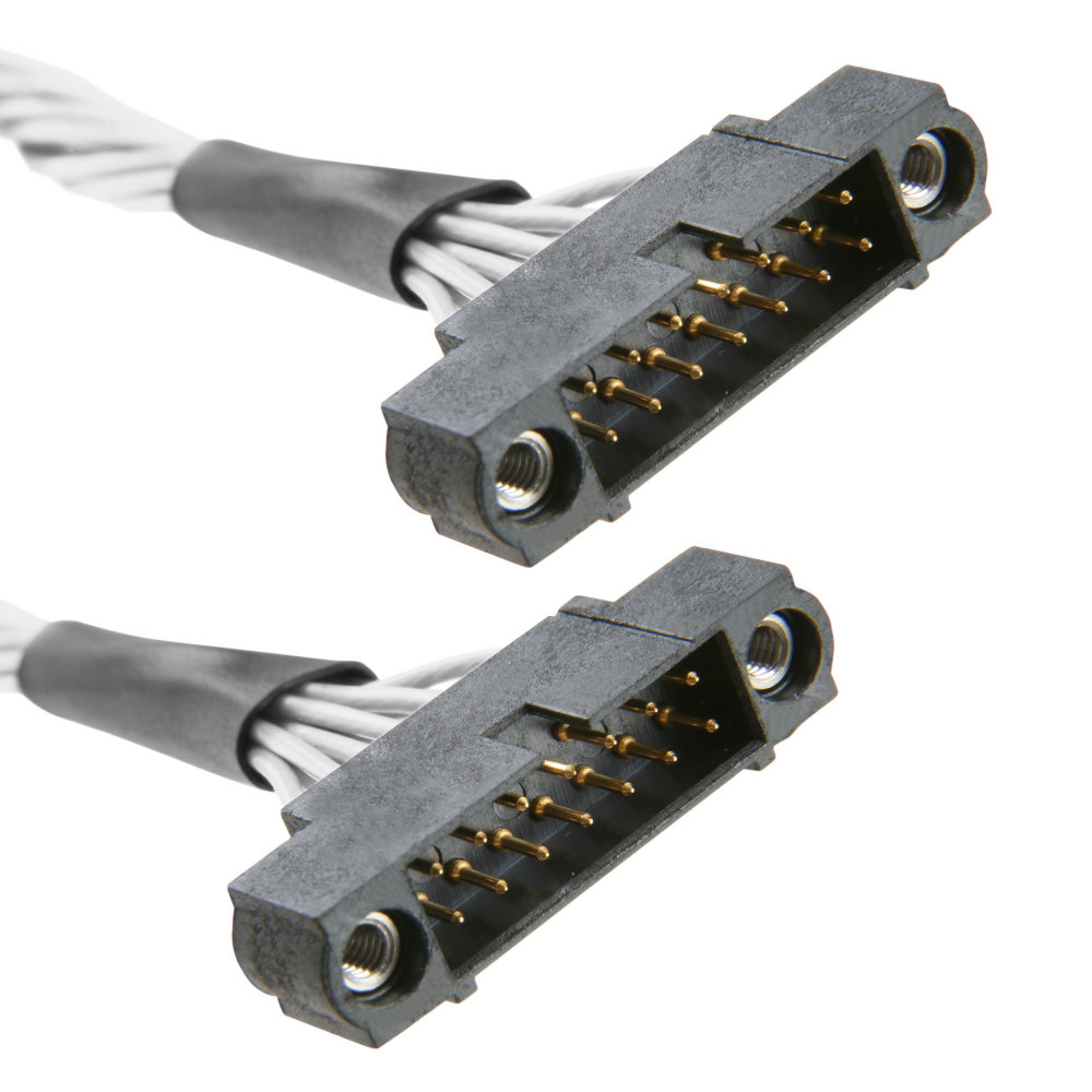 M80-MC30405M1-XXXXM1 - 2+2 Pos. Male DIL 26AWG Cable Assembly, double-end, Jackscrews