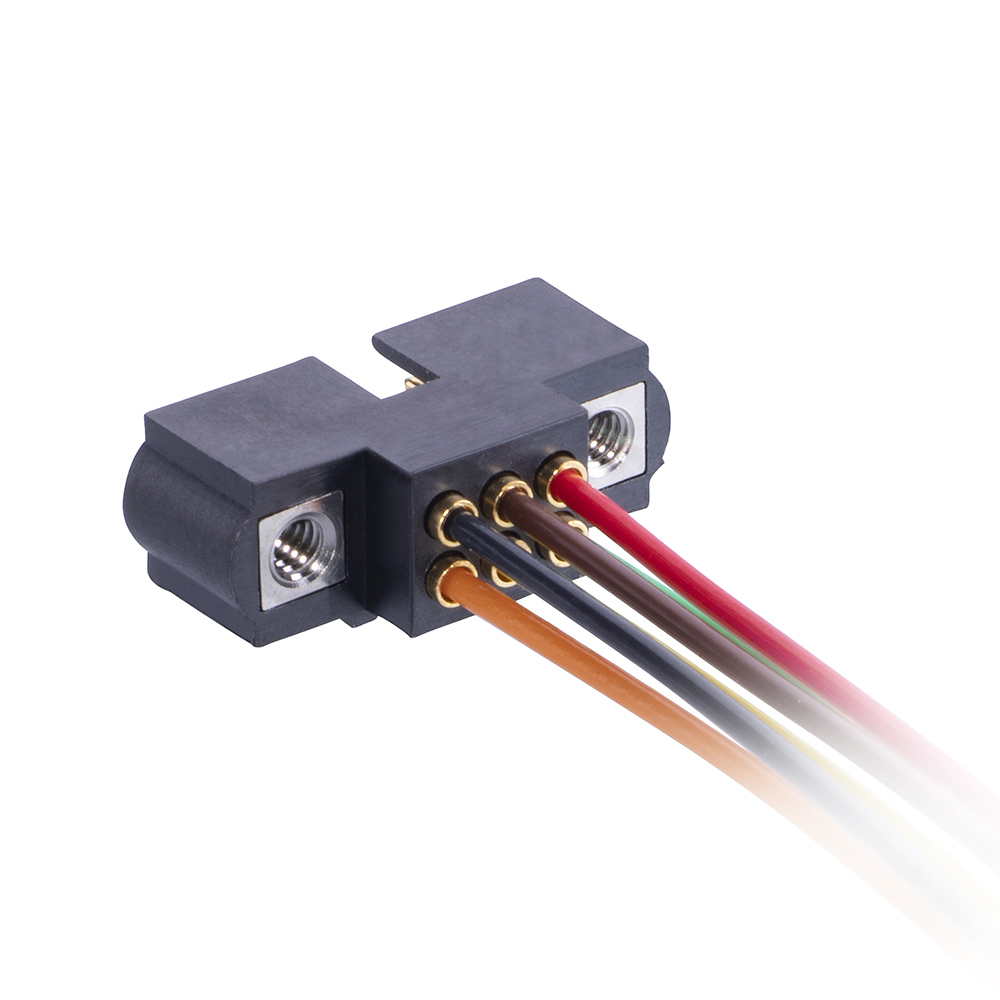 M80-MC20668M1-0450L - 3+3 Pos. Male DIL 24AWG Cable Assembly, 450mm, single-end, Jackscrews