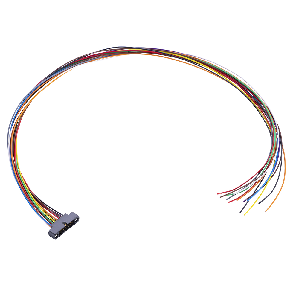 M80-MC31468M1-XXXXL - 7+7 Pos. Male DIL 26AWG Cable Assembly, single-end, Jackscrews