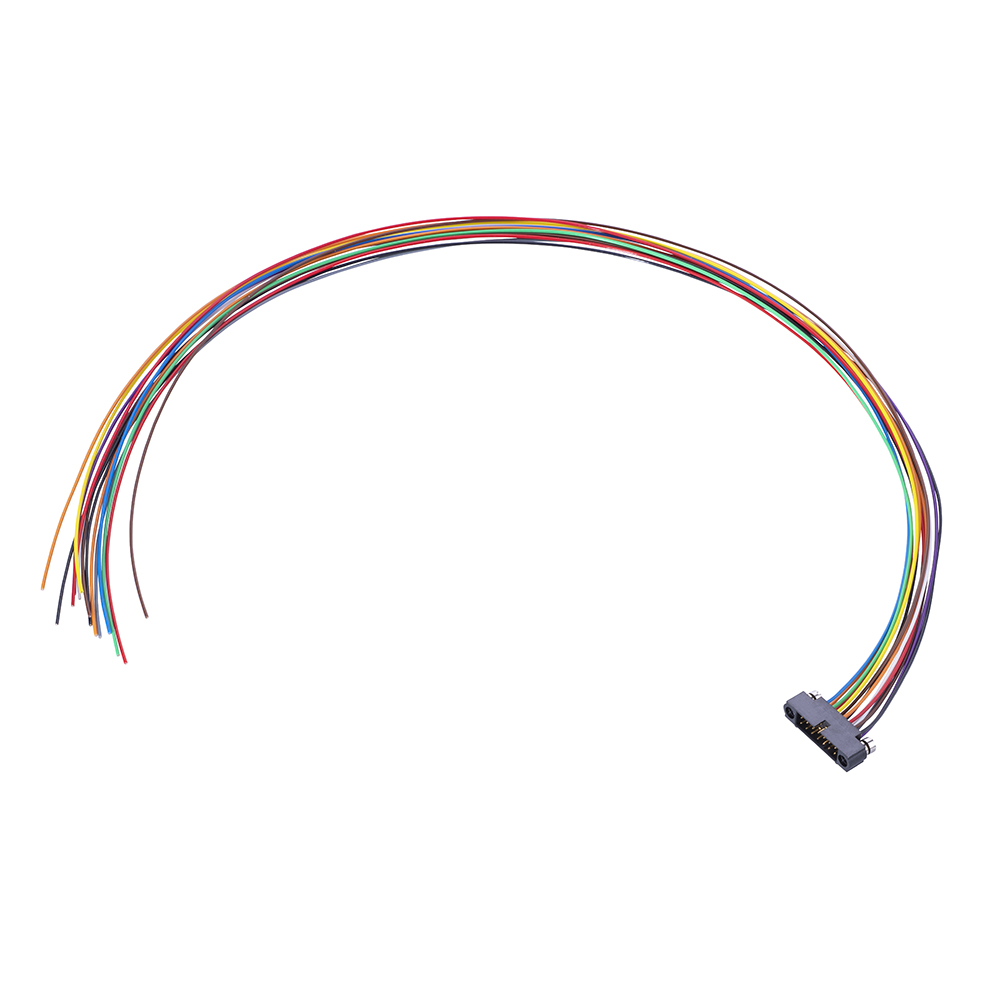 M80-MC21468MA-0450L - 7+7 Pos. Male DIL 24AWG Cable Assembly, 450mm, single-end, Reverse Fix