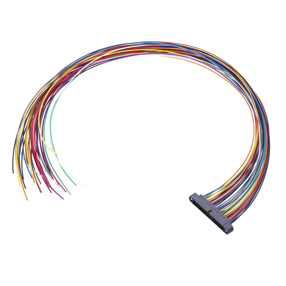 M80-MC24268M1-0450L - 21+21 Pos. Male DIL 24AWG Cable Assembly, 450mm, single-end, Jackscrews