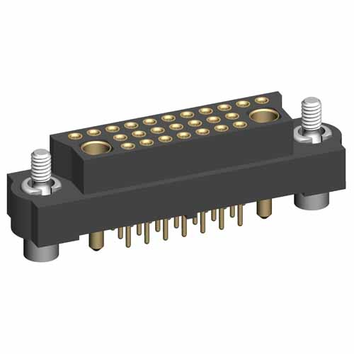 M83-LFT1F2N25-0101-321 - 25+2 Female 3-Row Signal+Power Vertical Throughboard Conn. Jackscrews