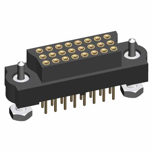 M83-LFT2FHN24-0000-000 - 8 x 3-Row Female Vertical Throughboard Conn. Guide Pin