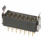 B5743-214-M-T-3 - 7+7 Pos. Male DIL Vertical Throughboard Conn. Latches (BS Release)