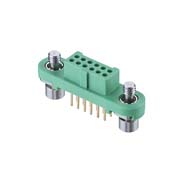G125-FV11205F1P - 6+6 Pos. Female DIL Vertical Throughboard Conn. Screw-Lok