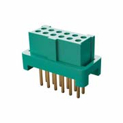 G125-FV11205L0R - 6+6 Pos. Female DIL Vertical Throughboard Conn. for Latches (T+R)