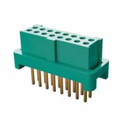 G125-FV11605L0R - 8+8 Pos. Female DIL Vertical Throughboard Conn. for Latches (T+R)