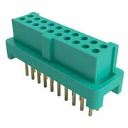 G125-FV23405L0P - 17+17 Pos. Female DIL Vertical Throughboard Conn. for Latches