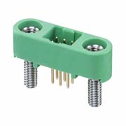 G125-MV10605M2P - 3+3 Pos. Male DIL Vertical Throughboard Conn. Screw-Lok Board Mount