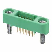 G125-MV11205M2P - 6+6 Pos. Male DIL Vertical Throughboard Conn. Screw-Lok Board Mount