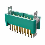 G125-MV11605L1R - 8+8 Pos. Male DIL Vertical Throughboard Conn. Latches (T+R)
