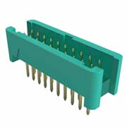 G125-MV11605L0R - 8+8 Pos. Male DIL Vertical Throughboard Conn. no Latches (T+R)