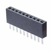 M50-3031042 - 10 Pos. Female SIL Vertical Throughboard Conn.
