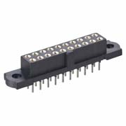 M80-4100442 - 2+2 Pos. Female DIL Vertical Throughboard Conn. No Jackscrews