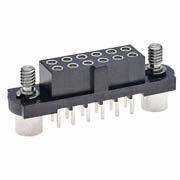 M80-4200605 - 3+3 Pos. Female DIL Vertical Throughboard Conn. Jackscrews