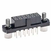 M80-4210442 - 2+2 Pos. Female DIL Vertical Throughboard Conn. Jackscrews