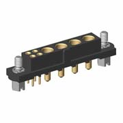 M80-4T10405F1-04-321-00-000 - 4+4 Pos. Female Signal+Power Vertical Throughboard Conn. Jackscrews