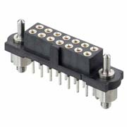 M80-4T10605F3 - 3+3 Pos. Female DIL Vertical Throughboard Conn. Guide Pin