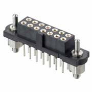 M80-4T21605F3 - 8+8 Pos. Female DIL Vertical Throughboard Conn. Guide Pin