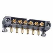 M80-5000000M5-06-333-00-000 - 6 Pos. Male SIL Horizontal Throughboard Conn. Jackscrews