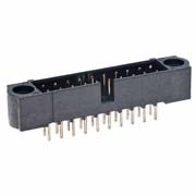 M80-5200642 - 3+3 Pos. Male DIL Vertical Throughboard Conn. No Jackscrews
