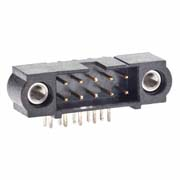 M80-5301042 - 5+5 Pos. Male DIL Horizontal Throughboard Conn. Jackscrews