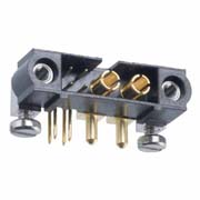 M80-5L10405M5-02-333-00-000 - 4+2 Pos. Male Signal+Power Horizontal Throughboard Conn. Jackscrews