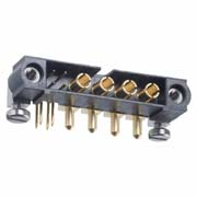 M80-5L10405M5-04-333-00-000 - 4+4 Pos. Male Signal+Power Horizontal Throughboard Conn. Jackscrews