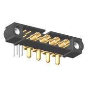 M80-5L10442M1-04-333-00-000 - 4+4 Pos. Male Signal+Power Horizontal Throughboard Conn. Jackscrews