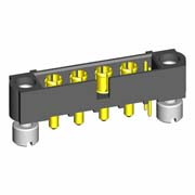 M80-5T10222M2-04-331-00-000 - 2+4 Pos. Male Signal+Power Vertical Throughboard Conn. Jackscrews