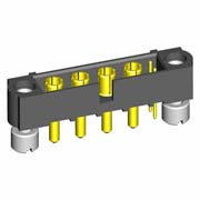 M80-5T10222M3-04-332-00-000 - 2+4 Pos. Male Signal+Power Vertical Throughboard Conn. Jackscrews
