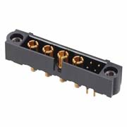 M80-5T10405M1-04-331-00-000 - 4+4 Pos. Male Signal+Power Vertical Throughboard Conn. Jackscrews