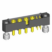 M80-5T10405M3-04-332-00-000 - 4+4 Pos. Male Signal+Power Vertical Throughboard Conn. Jackscrews