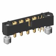 M80-5T10405MH-04-331-00-000 - 4+4 Pos. Male Signal+Power Vertical Throughboard Conn. Jackscrews