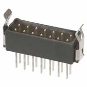 M80-7530442 - 2+2 Pos. Male DIL Vertical Throughboard Conn. Latches