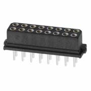 M80-8501642 - 8+8 Pos. Female DIL Vertical Throughboard Conn. for Latches